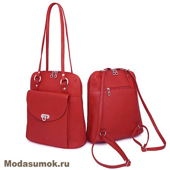 1e5a412b389d Сумка-рюкзак женская из натуральной кожи Protege Ц-226 красная ...