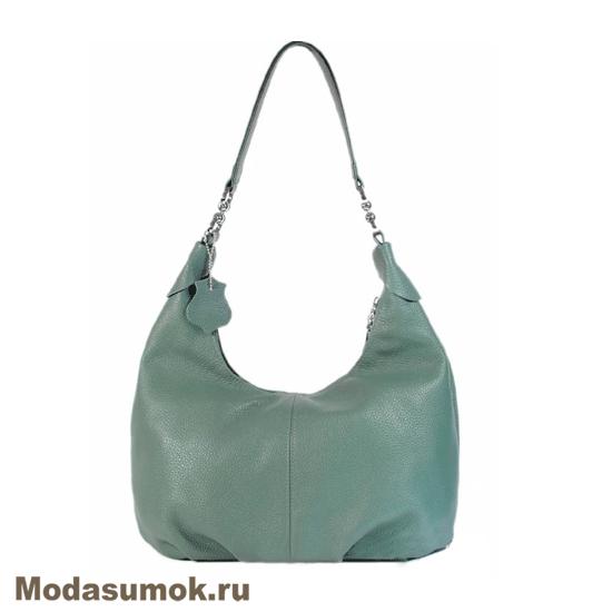 19f4d0f4c166 Женская мягкая сумка из натуральной кожи L-Craft L 78 тёмная мята ...