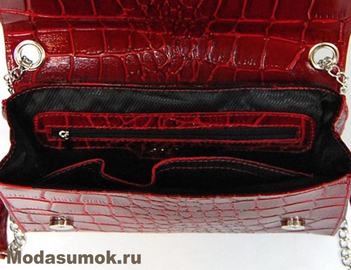 97fe28a3b931 Клатч из натуральной кожи A.Valentino - 317 Красный крокодил. Артикул  SU349