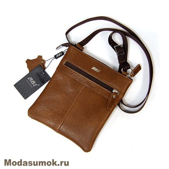 8f614f2283e8 Мужская сумка через плечо из натуральной кожи BB1 940082 светло-коричневая