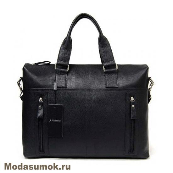 2ff1abebe2c8 Сумка - портфель мужская из натуральной кожи A.Valentino 363 черная ...
