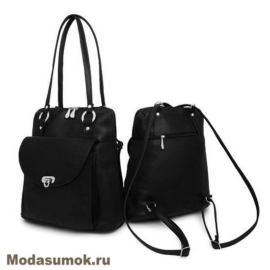 e1234a4c29fc Сумка-рюкзак женская из натуральной кожи Protege Ц-226 черная купить ...